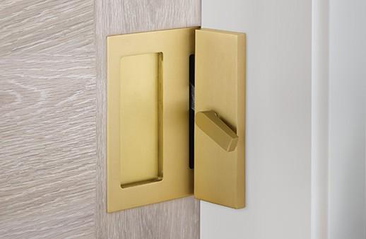 New From EMTEK – Modern Rectangular Privacy Locks for Barn Doors