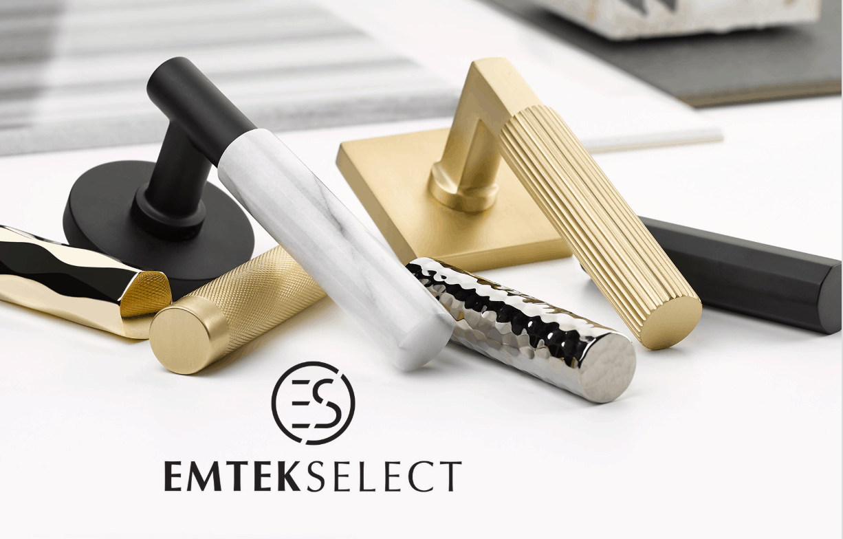 We're In Love!! New from EMTEK SELECT – White Marble and Straight Knurled Leversets
