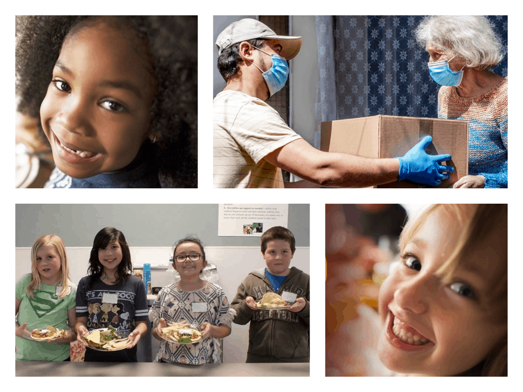 featured image showing a photo collage of volunteers feeding various groups of individuals including children and seniors