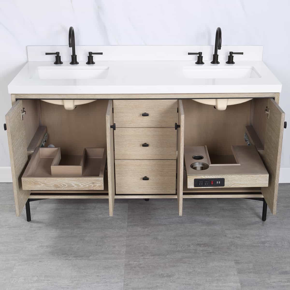 featured image showing the double vanity sink from Fairmont Design's Bravo Collection with the interchangeable cabinets.