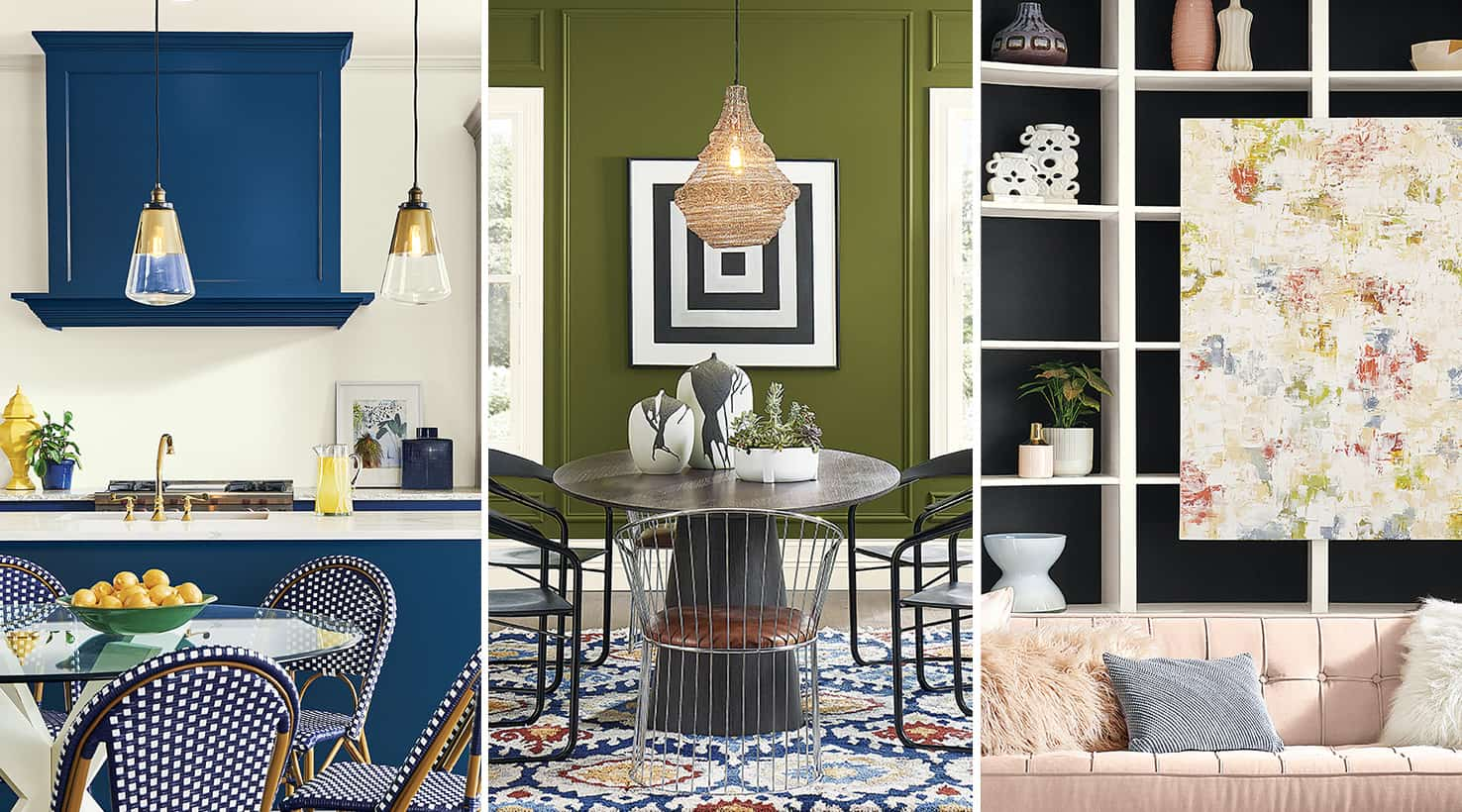 featured image showing three colorful interiors by Sherwin Williams