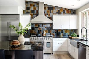 featured image showing a redesigned kitchen that features a tiled wall