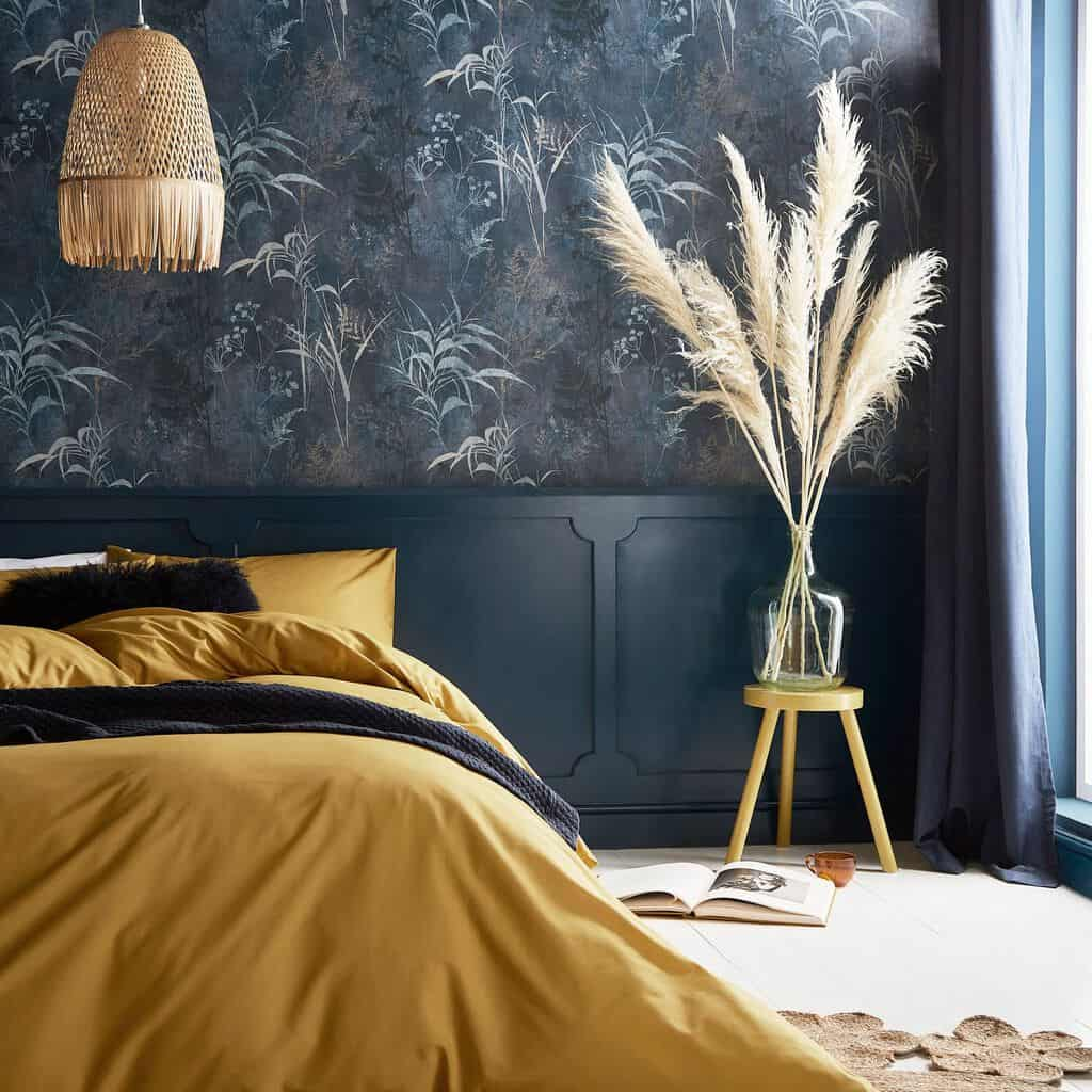 featured image showing a stylish bedroom with midnight botanical wallpaper